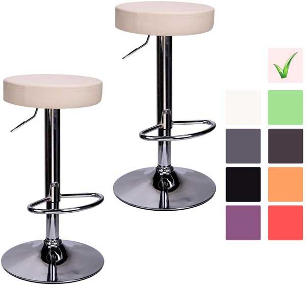 2 tabourets de bar cuisine assise ronde