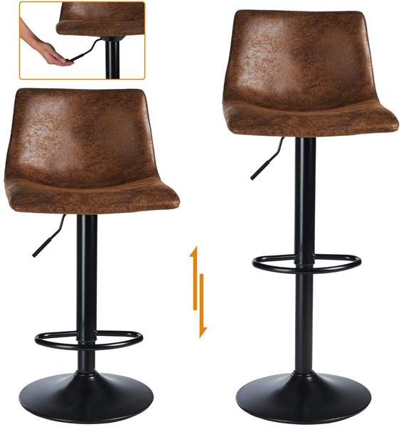 Tabourets de bar avec assise imitation cuir