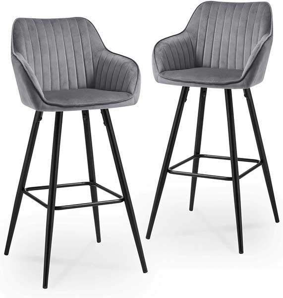 2 tabourets design avec assise en velours