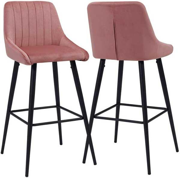 2 tabourets avec assise en velours