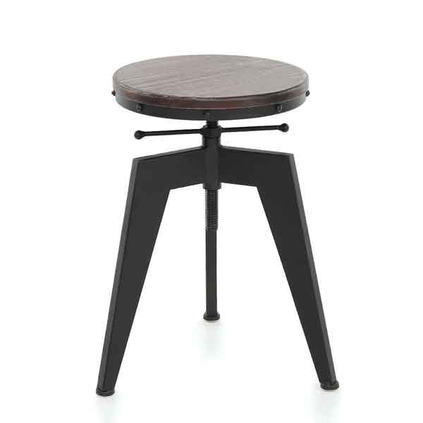 Tabouret design industriel assise en pin