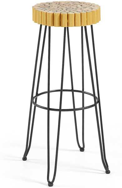 Tabouret design avec assise en bois