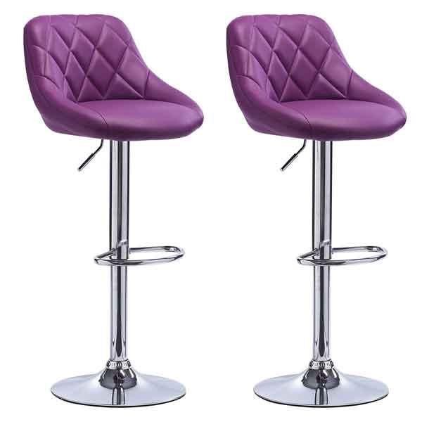 2 Tabourets violets simili cuir