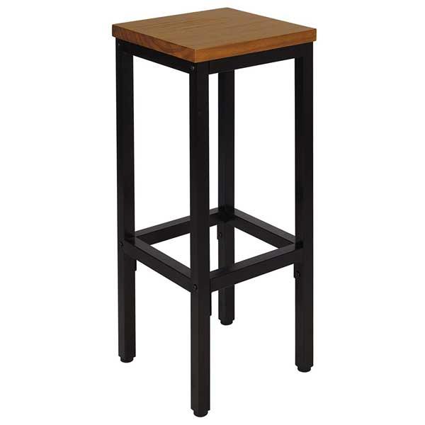 Tabouret en métal assise bois chêne