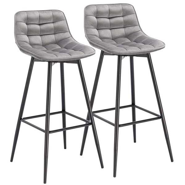 2 tabourets siège en velours gris