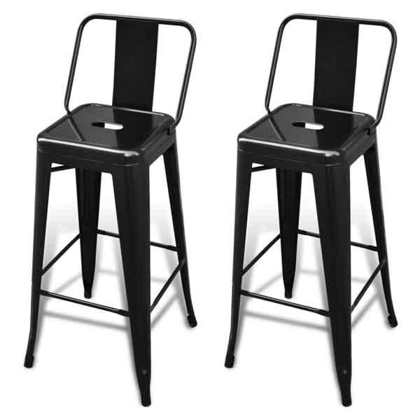 2 Tabourets de bar acier noir