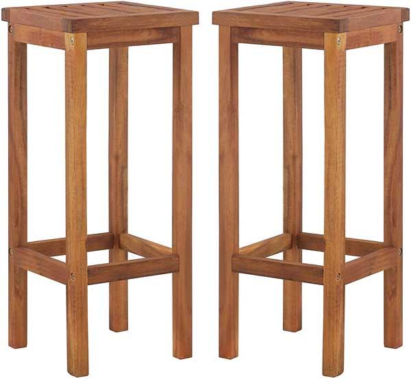 2 tabourets en bois acacia