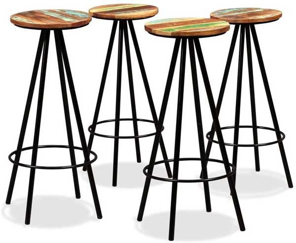 Tabourets assise en bois design industriel